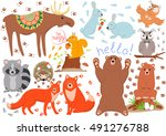 set of funny cute woodland... | Shutterstock .eps vector #491276788