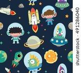 kids space seamless pattern. | Shutterstock .eps vector #491286040