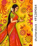 vector design of indian woman... | Shutterstock .eps vector #491289064