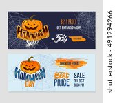 happy halloween sale banners... | Shutterstock .eps vector #491294266
