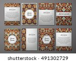 flyers template set with... | Shutterstock .eps vector #491302729