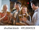 smiling friends toasting...   Shutterstock . vector #491304523