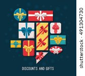 gift boxes of various shapes... | Shutterstock .eps vector #491304730