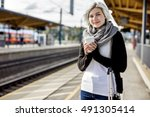 woman holding disposable coffee ...   Shutterstock . vector #491305414