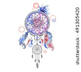 indian dream catcher  colorful... | Shutterstock .eps vector #491305420
