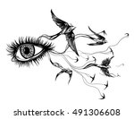 woman with birds flying from... | Shutterstock .eps vector #491306608