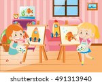 two girls drawing on canvas in...   Shutterstock .eps vector #491313940