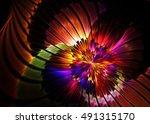 fractal shining   floral... | Shutterstock . vector #491315170