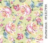 roses seamless pattern. | Shutterstock . vector #491317954