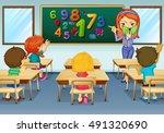 math teacher teaching in... | Shutterstock .eps vector #491320690