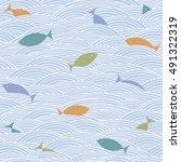 fish background. doodle hand... | Shutterstock .eps vector #491322319