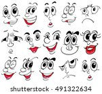 different facial expressions on ... | Shutterstock .eps vector #491322634