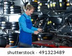 technician man in coveralls... | Shutterstock . vector #491323489