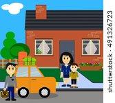 cute cartoon family near house. ...   Shutterstock .eps vector #491326723