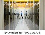 technician walking in hallway... | Shutterstock . vector #491330776