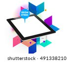 tablet pc icon with geometric... | Shutterstock .eps vector #491338210