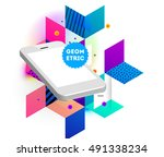 mobile phone icon with trendy... | Shutterstock .eps vector #491338234