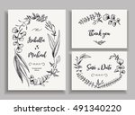 set of wedding cards with... | Shutterstock .eps vector #491340220