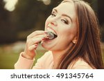 food and sweets. appetite and... | Shutterstock . vector #491345764