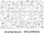 zentangle stylized background... | Shutterstock .eps vector #491349043
