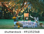 rustic wedding photo zone. hand ... | Shutterstock . vector #491352568