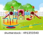 kids playing in the playground... | Shutterstock .eps vector #491353540