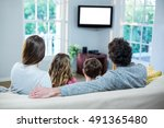 family watching television... | Shutterstock . vector #491365480