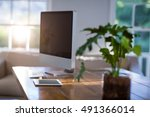 computer and digital tablet on... | Shutterstock . vector #491366014