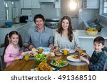 portrait of happy family having ... | Shutterstock . vector #491368510