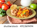 chicken enchilada mexican food...