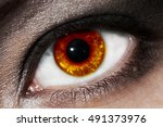 female fiery eye closeup with...