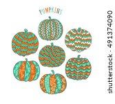 ornate pumpkin collection. set... | Shutterstock .eps vector #491374090