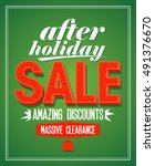 retro design after holiday sale ... | Shutterstock . vector #491376670