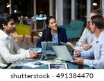 group of businesspeople working ... | Shutterstock . vector #491384470