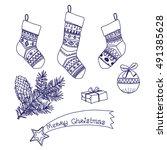 christmas stocking. set of... | Shutterstock .eps vector #491385628