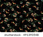 trendy seamless floral pattern... | Shutterstock .eps vector #491393548