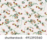 trendy seamless floral pattern... | Shutterstock .eps vector #491393560