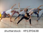 group of people performing... | Shutterstock . vector #491393638