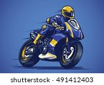 Hand Drawing Of Motorcycle Race