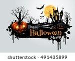 halloween pumpkins and dark...