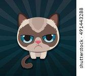Cute Sad Grumpy Cat. Vector...