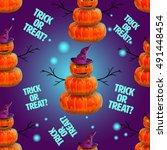 halloween pattern.trick or treat | Shutterstock .eps vector #491448454