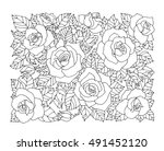 Stock vector roses flowers floral pattern background vector artwork coloring book page for adult love 491452120