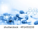 pill with molecules on blue...   Shutterstock . vector #491453233