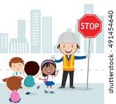 traffic guard helping kids...   Shutterstock .eps vector #491454640