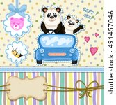 daddy and baby panda in a blue... | Shutterstock .eps vector #491457046