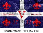flag of vincennes  indiana  usa ... | Shutterstock . vector #491459143