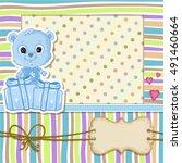 teddy bear for baby boy . baby... | Shutterstock .eps vector #491460664