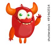 cute cartoon monster. halloween ... | Shutterstock .eps vector #491463514