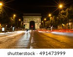 the famous arc de triomphe in... | Shutterstock . vector #491473999
